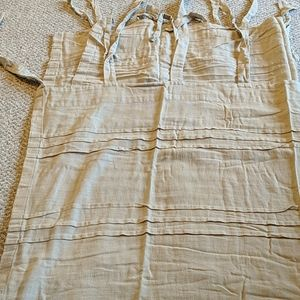 Two linen tie curtain panels